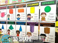 3D Shape posters, grade 1 grade 2, grade 3, Miss Jacobs Little Learners,