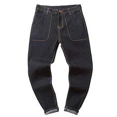 Men Casual Autumn Denim Cotton Vintage Wash Hip Hop Work Hybrid Trousers Jeans Tapered Pants Fashion New Work Trousers, Trouser Jeans, Tall Jeans, Denim Cotton, Mens Big And Tall, Black Denim, Fashion Pants, Joggers, Hip Hop