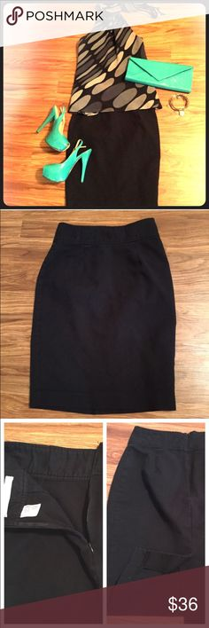 "Classic black pencil skirt Re-listing this item, as it had sold then the buyer canceled the order immediately after. This is a classic black pencil skirt, perfect for the office! High rise fit. Material is more like a brushed khaki than a typical ""dress pant"" material.  97% cotton, 3% spandex. Does show some wear as shown in last picture. Old Navy Skirts Pencil"