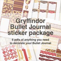 Gryffindor bullet journal sticker package!
