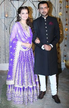 Actress-producer, Dia Mirza and her filmmaker beau Sahil Sangha : Photos: Dia Mirza, Sahil Sangha at their sangeet night Indian Bridal Lehenga, Indian Bridal Wear, Indian Wear, Bollywood Celebrities, Bollywood Fashion, Bollywood Actors, Pakistani Outfits, Indian Outfits, Beautiful Muslim Women