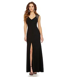 B. Darlin Illusion Jeweled Cap-Sleeve Gown | Dillard's Mobile