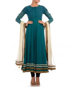#Exclusivelyin, #IndianEthnicWear, #IndianWear, #Fashion, Emerald Green Anarkali Suit with Floral Embroidery