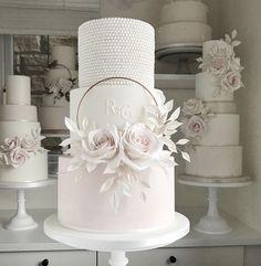 Wedding Cake Pearls, Luxury Wedding Cake, Floral Wedding Cakes, Elegant Wedding Cakes, Beautiful Wedding Cakes, Wedding Cake Designs, Beautiful Cakes, Blush Pink Wedding Cake, Elegant Cakes