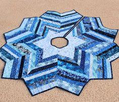 Blue Christmas Tree Skirt - 53 Inch Strings Quilt. $150.00, via Etsy.
