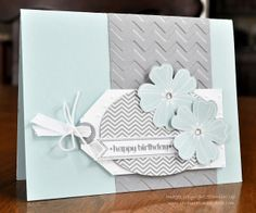 Beth's card has a lovely color combo of Soft Sky & Smoky Slate. She used Flower Shop, Oh Hello, Itty Bitty Banners, Chevron embossing folder, & more.