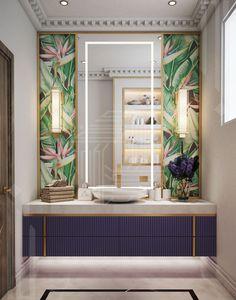 Bathroom Design Inspiration, Modern Bathroom Design, Bathroom Interior Design, Golden Mirror, Bathroom Remodel Cost, Tropical Wallpaper, Companies In Dubai, Bathroom Wallpaper, Interior Design Companies