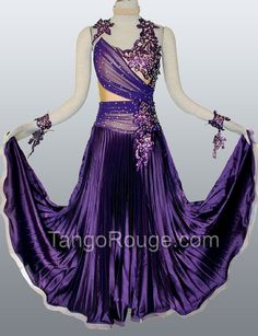 ballroom dance dresses | Purple Indigo Satin Ballroom Waltz Smooth Dance Dress - TangoRouge ...