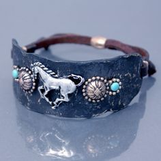 Where are my HORSE lovers?? www.rusticricket.com Antique Bronze Color Horse & Concho Cuff Bracelet