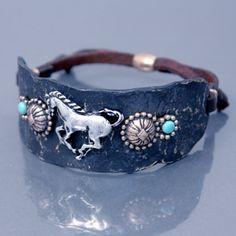 Antique Bronze Color Horse & Concho Cuff Bracelet