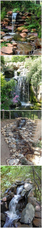 To Build A Garden Waterfall Pond 1 - Garten gestaltung Backyard Water Feature, Ponds Backyard, Backyard Waterfalls, Pond Design, Landscape Design, Building A Stone Wall, Garden Waterfall, Pond Landscaping, Waterfall Landscaping
