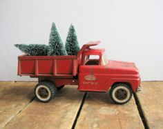 Vintage Toy Truck, Red Dump Truck with Bottle Brush Tree, Vintage Tonka Truck with Christmas Tree, Vintage Tonka Hydraulic Dump Truck
