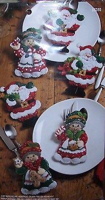 Bucilla Santa & Mrs Claus ~ Felt Christmas Silverware Holder Kit for sale online Kit, Silverware Holder, Decorative Plates, Santa, Food, Meals, Yemek, Eten