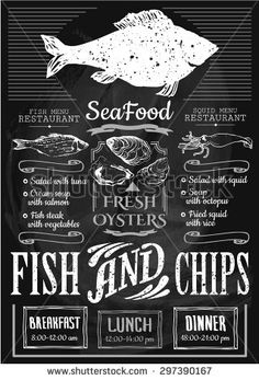 Fish and chips poster. Menu for fish restaurant or bar with a illustration on a blackboard. Simple drawn sketch in vector format. Menu Restaurant, Frites Restaurant, Restaurant Design, Seafood Shop, Seafood Menu, Fish And Chips Menu, Fish And Chips Restaurant, Fish And Chip Shop, Fish Design
