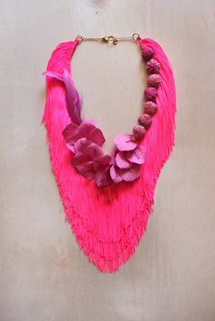 Reason To Be Pretty neon pink floral fringe necklace. Tassel Jewelry, Textile Jewelry, Jewelry Art, Beaded Jewelry, Jewelery, Jewelry Accessories, Fashion Accessories, Jewelry Design, Fashion Jewelry