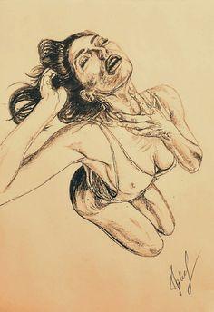 Рисунки карандашом + ручкой, тело,  страсть,  желание,  девушка