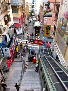 The longest outdoor escalator in the world, the Central to Midlevels Escalator, Hong Kong. Brimming with shops and restaurants left, right and underneath.