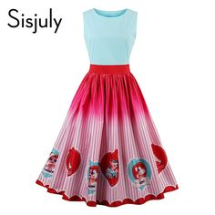Sisjuly women vintage dress 1950s patchwork character print cute dresses retro stripe sleeveless elegant female vintage dresses-in Dresses from Women's Clothing & Accessories on Aliexpress.com | Alibaba Group