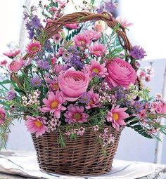 Cheer Up Flower Basket: Flower Bouquets - A heartwarming bouquet to show you care. Beautiful Flower Arrangements, Silk Flowers, Spring Flowers, Floral Arrangements, Beautiful Flowers, Basket Of Flowers, Purple Flowers, Spring Bouquet, Pretty Roses