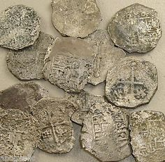 To export the precious metal to Spain quickly, the colonial mints produced irregular coinage called cobs. A bar of silver was cut into bite-sized chunks of the appropriate weight, and then struck with a hammer between crude dies. Rose Croix, Templer, Gold And Silver Coins, Old Money, Antique Coins, World Coins, Knights Templar, Rare Coins, Ancient Artifacts