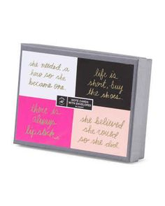 This on-point notecard set — $5
