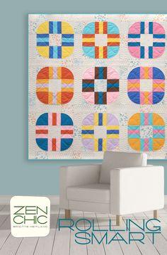 modern quilt pattern | zen chic | retro style quilt with low volume fabrics | modernbackgroundscolorbox