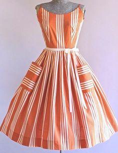 Vintage Dresses Vintage Dress / Cotton Dress / Jerry Gilden Red and White Striped Sun Dress S - Vintage Fashion 1950s, Vintage 1950s Dresses, Vintage Outfits, Vintage Hats, Vintage Cotton, Victorian Fashion, Etsy Vintage, Retro Fashion, Looks Vintage