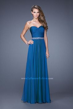 Wedding Dresses, Bridesmaid Dresses, Prom Dresses and Bridal Dresses La Femme - Style 20527 - La Femme, Spring Graceful chiffon dress with sweetheart neckline. The bodice is ruched with a natural waistline and embellished belt. Back zipper closure. Strapless Prom Dresses, Prom Dresses 2015, Blue Bridesmaid Dresses, Dresses For Sale, Evening Dresses, Long Dresses, Prom 2015, Blue Bridesmaids, Pretty Dresses