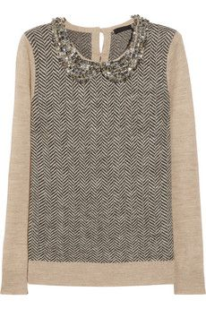 J.Crew crystal-collar herringbone sweater.
