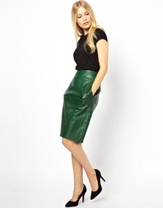 Urbancode Leather Pencil Skirt in Green   Lyst