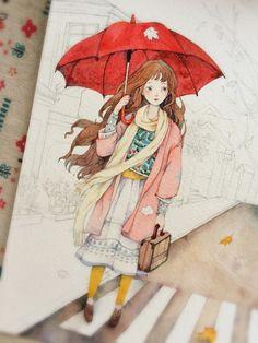 我喜欢的秋凉(小过程^ ^)-那仁_水彩,手绘_涂鸦王国插画 Watercolor Girl, Watercolor Drawing, Painting & Drawing, Watercolor Paintings, Cute Illustration, Watercolor Illustration, Art Sketches, Art Drawings, Art Anime