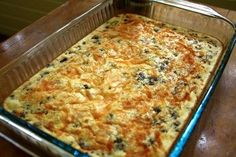 Breakfast casserole:   1 Pound Sausage  4 Eggs  1 Cup Bisquick  1 Cup Shredded Cheddar Cheese  2 Cups Milk  Salt and Pepper to taste....  I subbed the sausage for bacon, but it was still yummy!