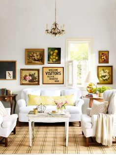 A wall of thrift-store paintings of the same subject can have even more impact than a single, more e... - Provided by Country Living