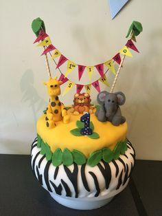 First birthday cake zebra jungle theme
