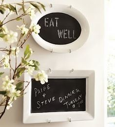 A fresh and elegant take on a traditional chalkboard.  I love the idea of putting one in the kids' bathroom for daily reminders like 'brush your teeth'.  :)