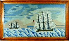 A Large British Sailor's Woolwork Picture of Two Ships, Circa 1870.