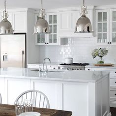 Kitchen Updating Ideas Final choice Black handles colour not style White cupboards Bench top colour Panelling - Kitchen Furniture, Kitchen Interior, New Kitchen, Kitchen Decor, Kitchen White, Kitchen Sink, Kitchen Cupboard Handles, Classic White Kitchen, Square Kitchen