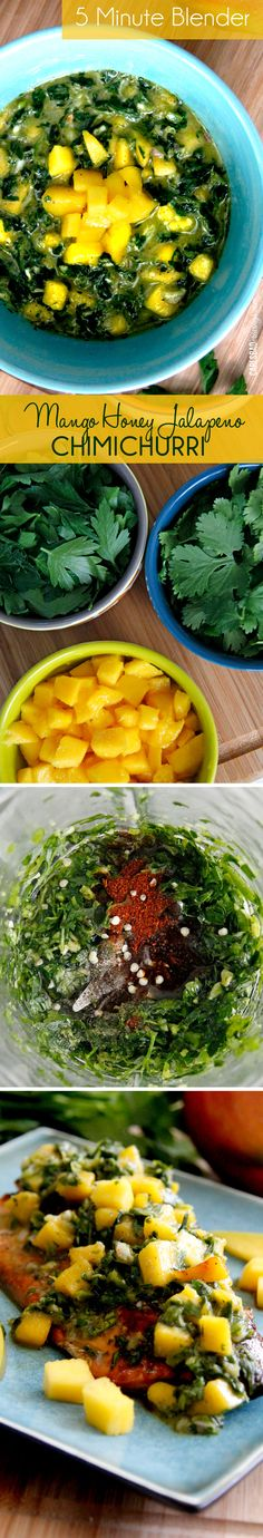 Sweet, spicy, and tangy all brightened by the refreshing mangoes! In 5 minutes you can instantly transform chicken, steak or fish with this flavor overload - the best kind of flavor overload. SO DELICIOUS! Sauces, Clean Eating, Healthy Eating, Cooking Recipes, Healthy Recipes, Chimichurri, Chicken Steak, I Love Food, Food For Thought