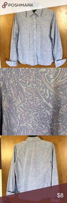Lands End Blouse with French cuffs Fun paisley like print Land's End blouse with back seams for slightly tailored fit. Folks back French cuffs, cotton/poly blend that required no ironing. Pretty blues with purple accents. Great untucked for a casual look or tucked in with a navy jacket for career wear. Lands' End Tops Blouses