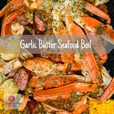 Garlic Butter Crab Boil Mouth watering garlic butter, crab legs, shrimp, corn on the cob, andouille sausage. Seafood Boil Recipes, Fish Recipes, Cajun Seafood Boil, Seafood Bake, Seafood Boil Party Ideas, Seafood Broil, Seafood Meals, Grilled Shrimp Recipes, Meatball Recipes