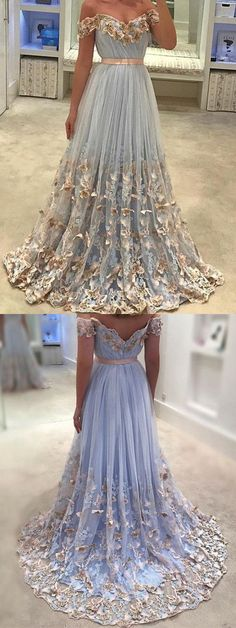 Charming A-line Off-Shoulder Prom Dress, Sweep Train Tulle Prom Dress With Butterflies 51431 #vintagepromdresses