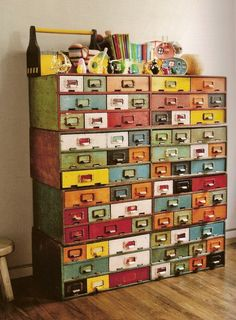 vintage library catalog drawers