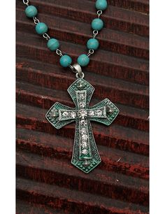 Wired Heart Turquoise Beaded with Rhinestone Embellished Cross Necklace and Earring Jewelry Set | Cavender's