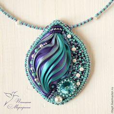 """Купить Кулон """"Magic"""", с лентой Шибори (shibori), вечернее украшение - фиолетовый, бирюзовый, кулон"""