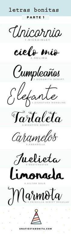 Tipos de letras para invitaciones #letras #tipografias #letrasinvitaciones