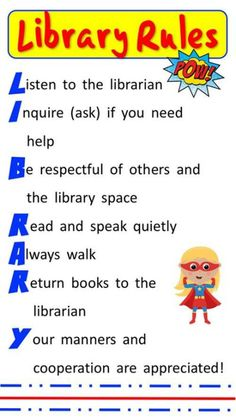rules for the library at school School Library Decor, School Library Lessons, School Library Displays, Library Lesson Plans, Library Themes, Elementary School Library, Library Activities, Library Ideas, Classroom Library Rules