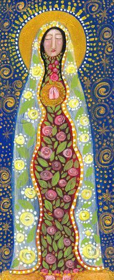 arte popular Virgen del rosa... vestido Print ose walton... aprox 5 x 7 en papel 8 x 10