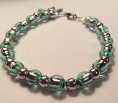 Shimmery mermaid shades  bead silver core stretch bracelet girlfriend gift green silver elastic clasp bracelet by AliceAndBettyDesigns on Etsy