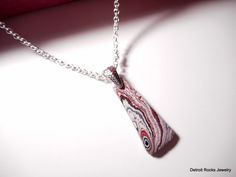 Detroit Fordite (aka Motor City Agate) Pendant Necklace on Sterling Silver Chain by DetroitRocksJewelry on Etsy