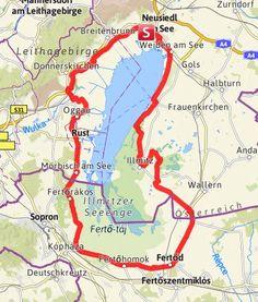 Karte / Neusiedler See Radweg Bavaria, Travel Posters, Austria, Wanderlust, Europe, Outdoors, Bike, Bike Trails, Biking